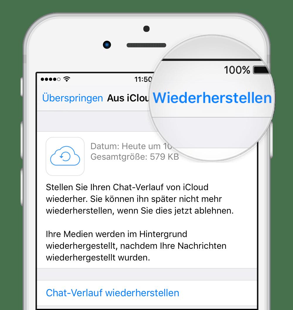 WhatsApp Nachrichten wiederherstellen mit iCloud Backup