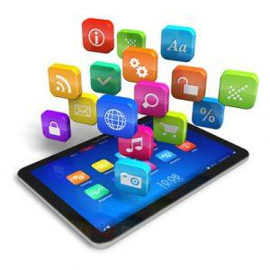 Tablet PC with cloud of application icons